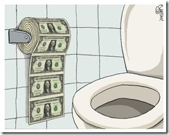 Dollar Gets Flushed Down the Toilet